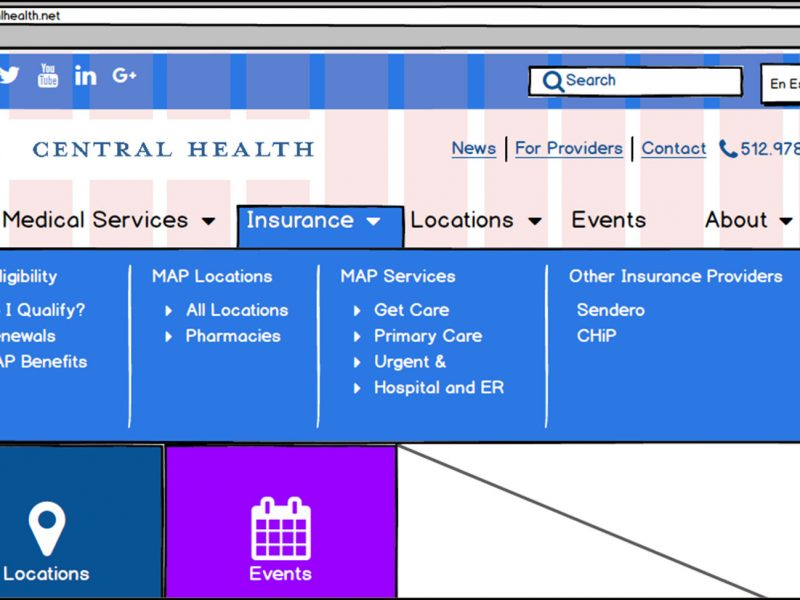 wireframe mockup of Central Health home